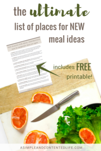 Constantly coming up with new ideas for meals can be tough. But thanks to the 10 places featured in this post, you'll never be stuck for inspiration for new meal ideas ever again! Includes a FREE cheatsheet for you to print and use as a handy reckoner.