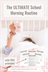 Inside: The school morning routine that helps me to stay on track Monday through Friday. This is the first post in a series about routines that help me survive the school week. Includes a FREE printable to help you create school routines that work for you too! #schoolroutine #morningroutine #parenting #parentingtips #schoollife #freeprintable