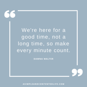 Image of an inspirational quote that reads We're here for a good time, not a long time, so make every minute count. Dawna Walter for the blog post Inspirational Quotes About Living Your Best Life