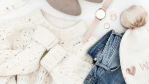 Image of a pair of jeans and a jumper for the blog post Productivity Hacks for Stay at Home Mums