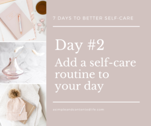 Blog post banner for the self-care challenge: Add a self-care routine to your day