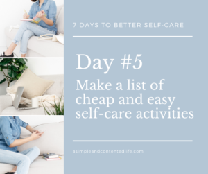 Blog post banner for the self-care challenge: Make a list of cheap and easy self-care activities