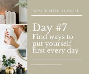 Blog post banner for the self-care challenge: Find ways to put yourself first every day