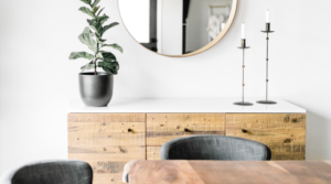 Image of a minimalist sideboard for the blog post What I Learned from my 30-Day Minimalism Challenge