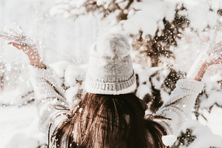 Image of a woman in the snow wearing a wooly hat for the blog post 25 Ways to Keep Your New Year's Resolutions and Achieve Your Goals